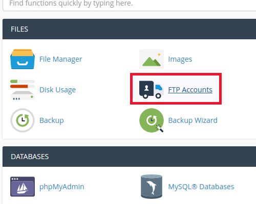accessing ftp accounts in cpanel
