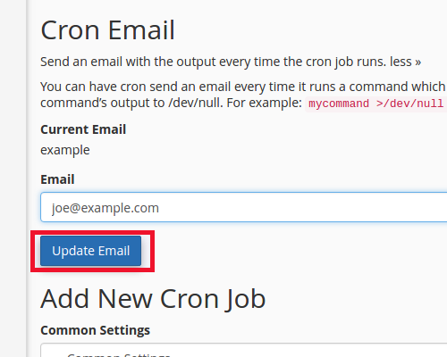 fill out cronjob email click update email