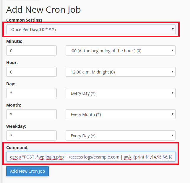 add new once a day cronjob for wordpress login report