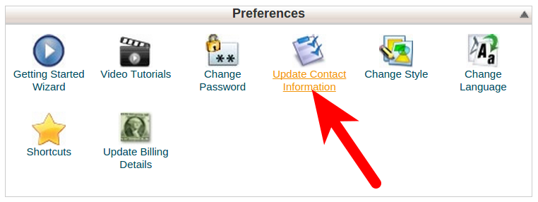 Updating contact information and preferences in cPanel
