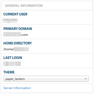 General server settings cPanel Stats