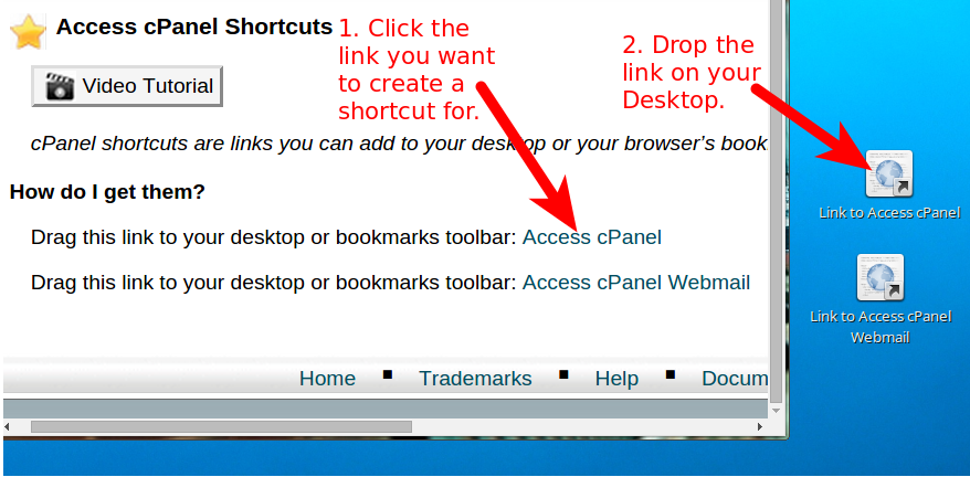 How to make a desktop link to cPanel and Webmail