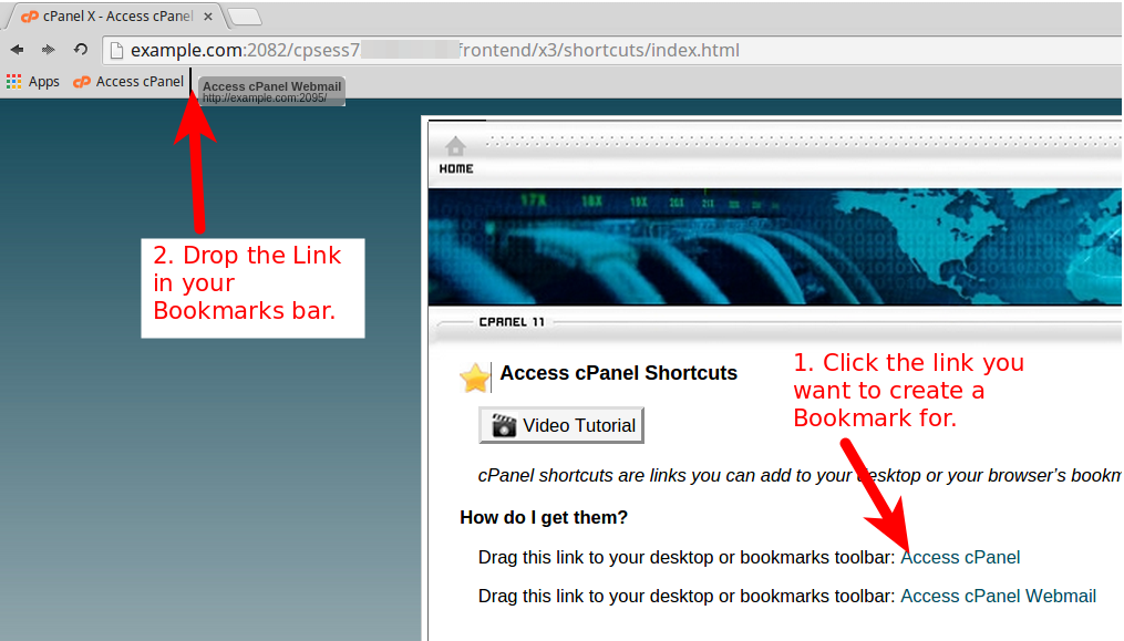 cPanel & Webmail browser shortcut