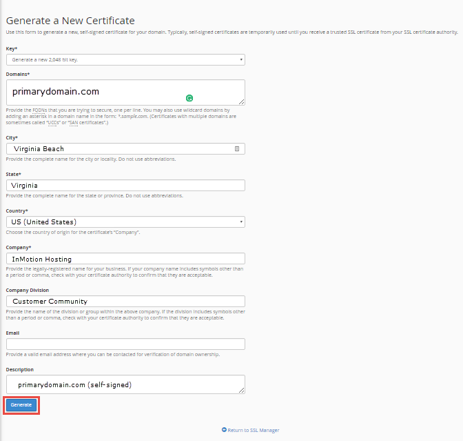 fill out details for self signed ssl certificate click generate