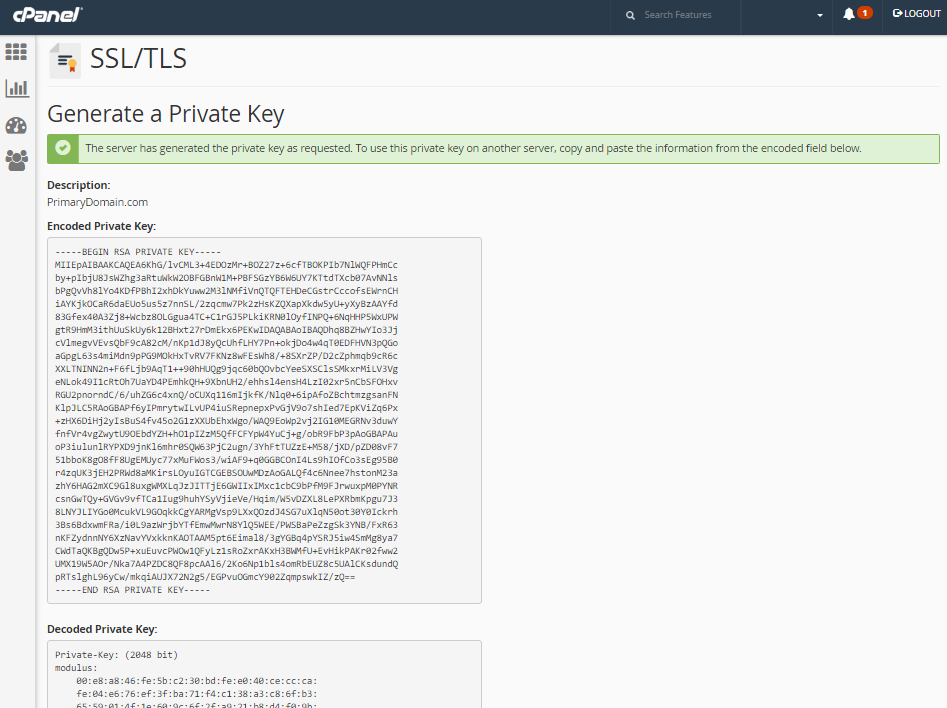 cpanel generated private key