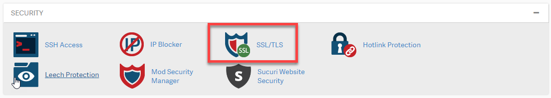 under security click ssl tls manager