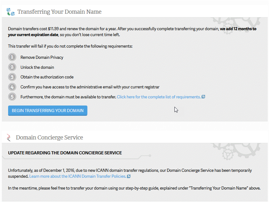 Click on Begin Transferring your domain button
