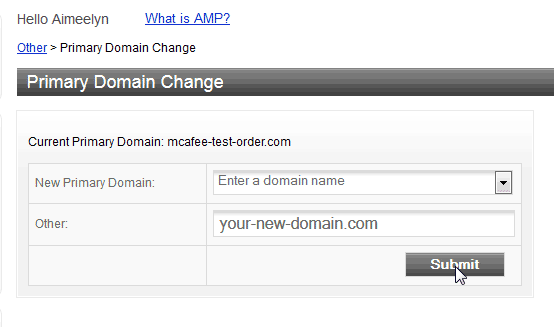 New domain Change Primary Domain