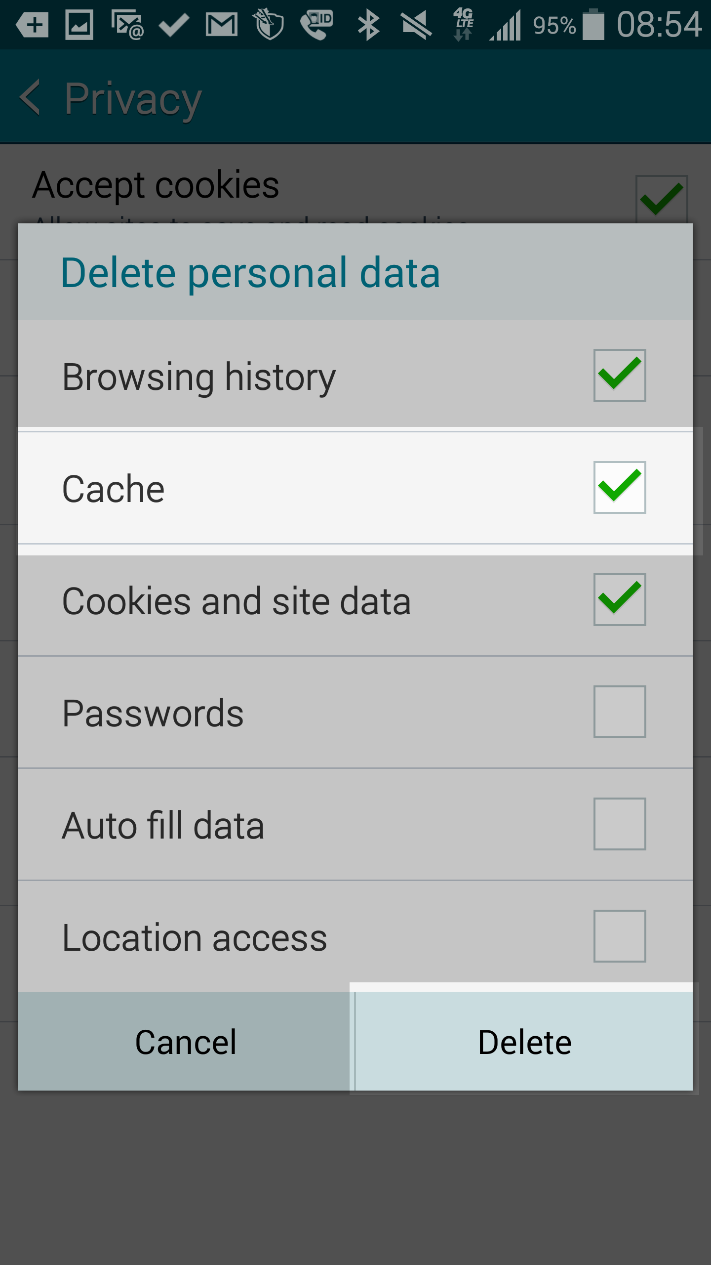 How To Clear Your Browser Cache On Android Devices Inmotion Hosting How To  Enable Cookies On