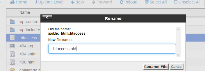 Renaming the .htaccess in cPanel.