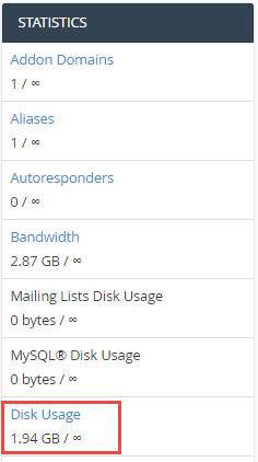 Close up of disk space usage