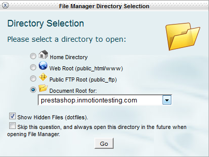 directory choice cPanel File Manager