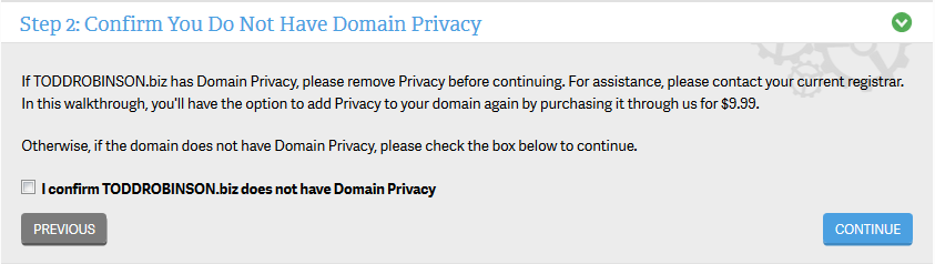 Confirm Domain Privacy removal