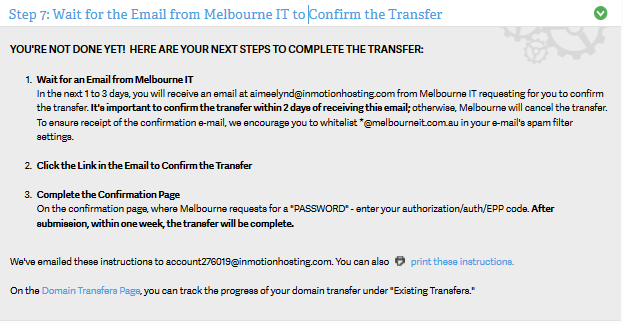 Transfer order form completed