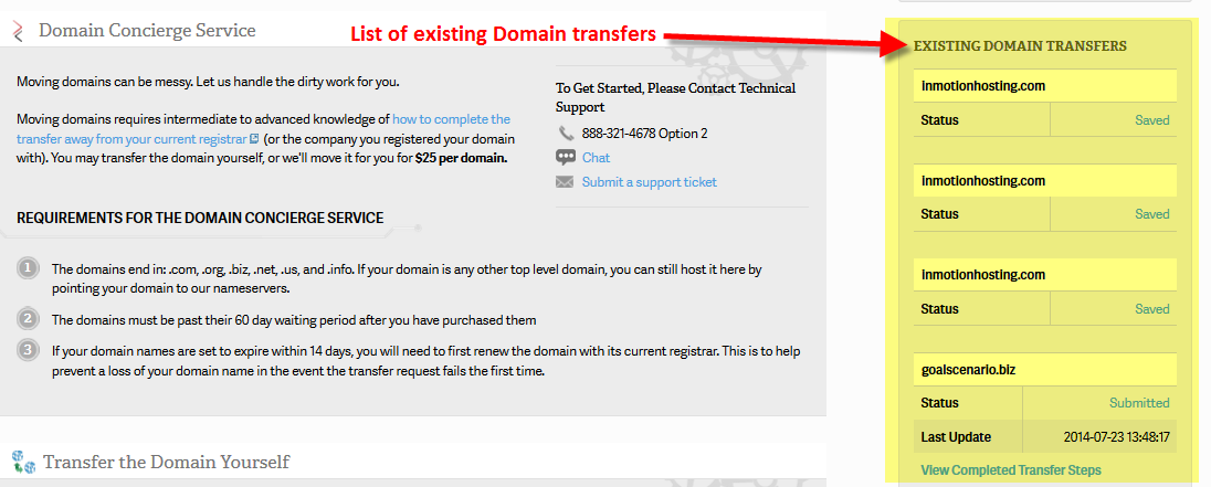 List of existing domain transfers