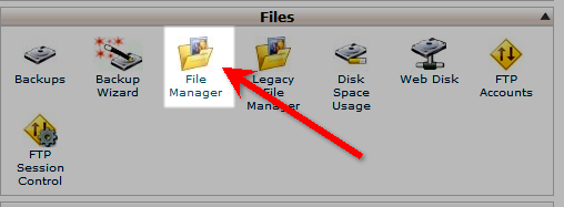 File Manager in the cPanel