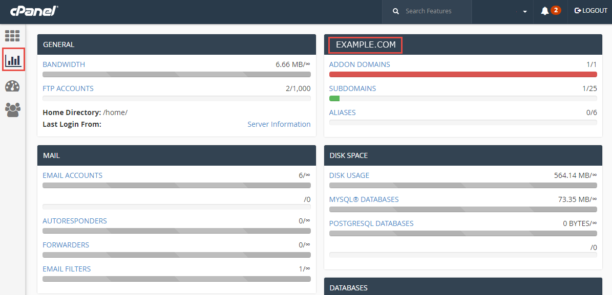 main domain under stats in cpanel