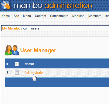 Select the Admin user Mambo