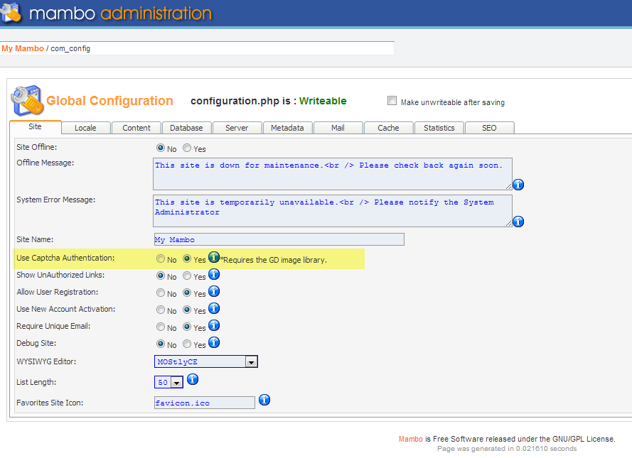 Captcha option in Global Configuration