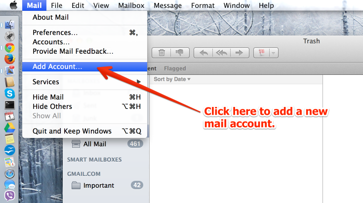 Add new mail account option