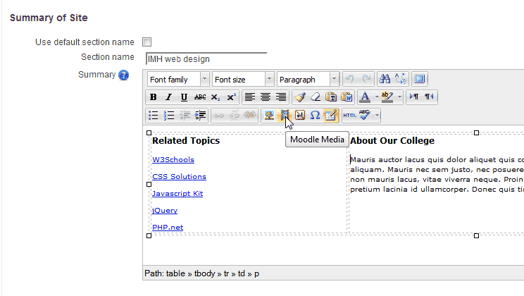Inserting media in Moodle