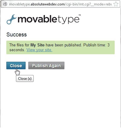 Close the publish success box Movable Type
