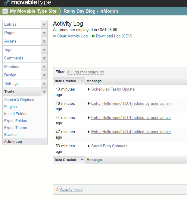 Activity log - main view