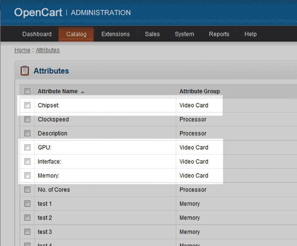 List of Attributes OpenCart