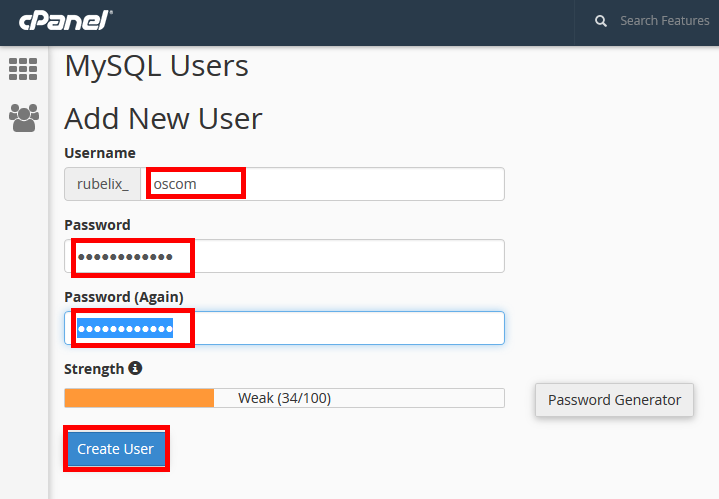 Create database and database username osCommerce 2.3.3