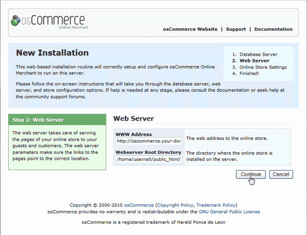 Web Server Information osCommerce 2.3.3