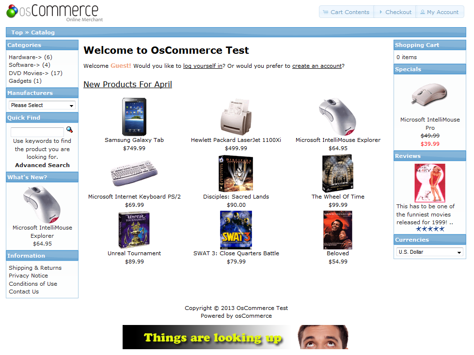 osCommerce store page with new banner inserted