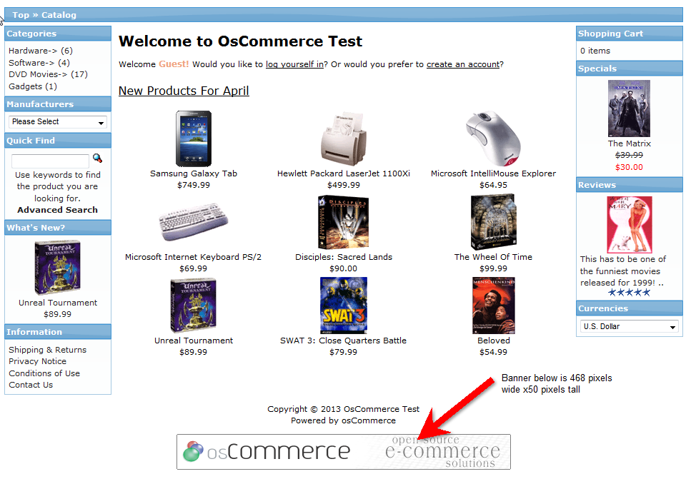 Example of osCommerce banner from default theme