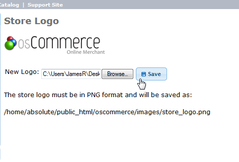 Upload and save logo osCommerce 2.3.3