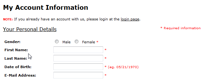 Screenshot shows Gender option still in Account information