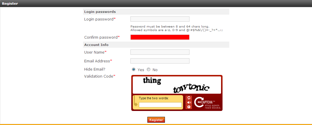 Recaptcha in New Member registration form.