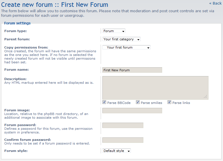 create new forum