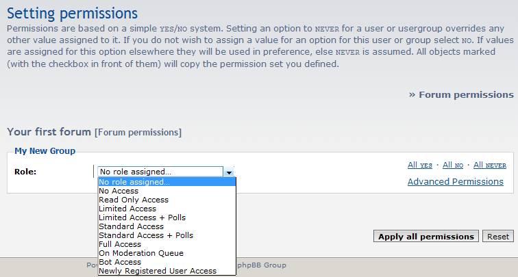 list of permissions settings