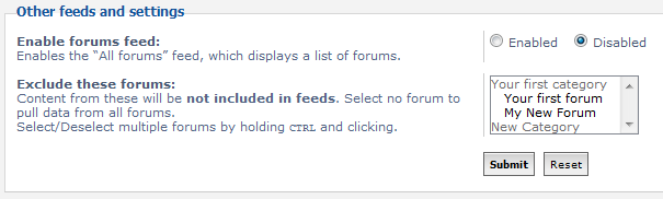 list of other feed settings