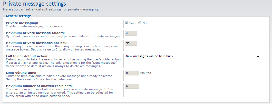 list of settings for private messages
