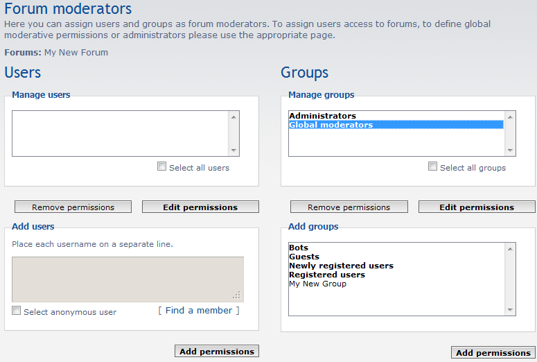 moderator group added to forum