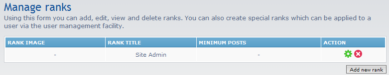 click add new rank button