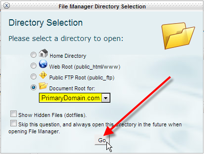 select your document root then click go