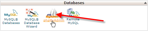 click on phpmyadmin icon in cpanel