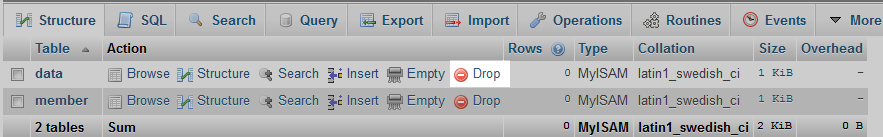 select the drop link for desired table