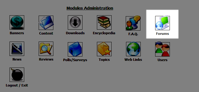 Forums icon in the Administration menu