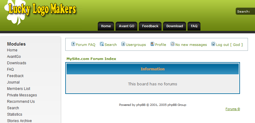 Shows how forums would appear in PHP-Nuke interface