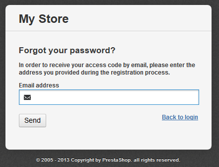 Forgot Password Screen for Prestashop
