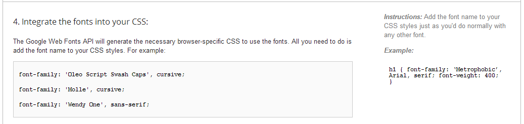 Step four - Integrate the fonts into your CSS