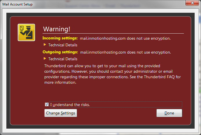 ssl encryption warning