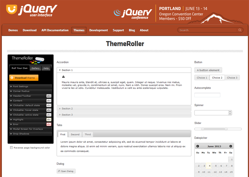 jQuery Theme Roller